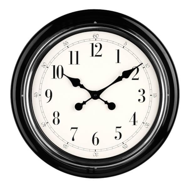 Wall Clock - Black with Chrome Finish