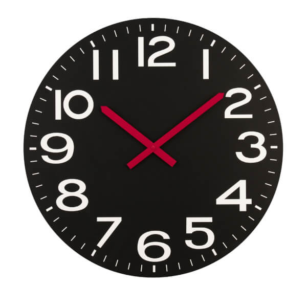 Wall Clock - Black with Red Hands