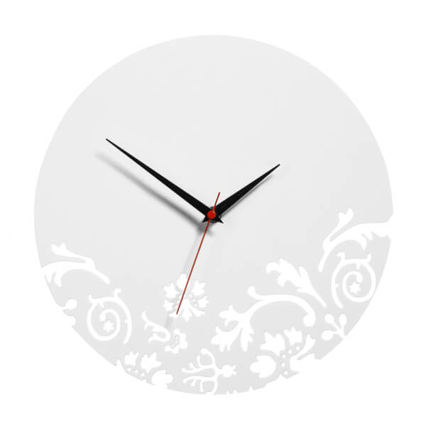 Floral Swirl Wall Clock - White