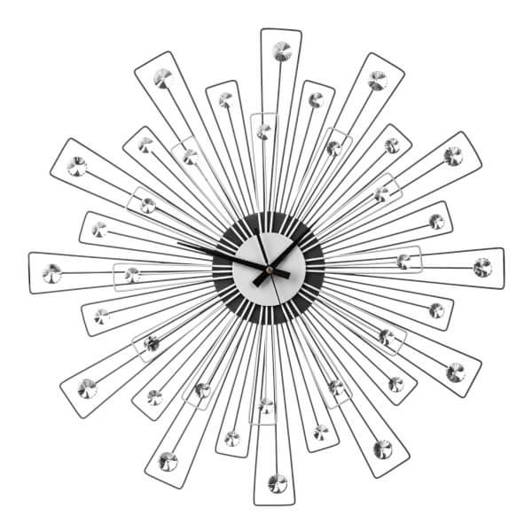 Crystal Wall Clock - Black & Silver