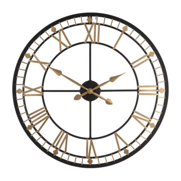 Metal Wall Clock - Black & Gold