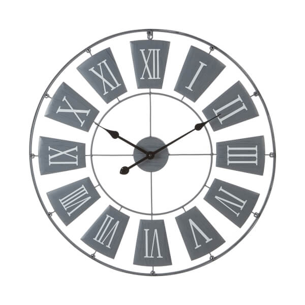 Metal Wall Clock - Grey