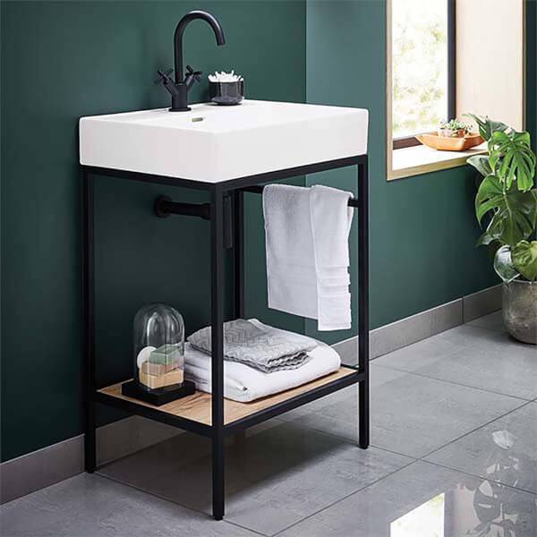 Bathstore Noir 600mm Basin and Frame Unit
