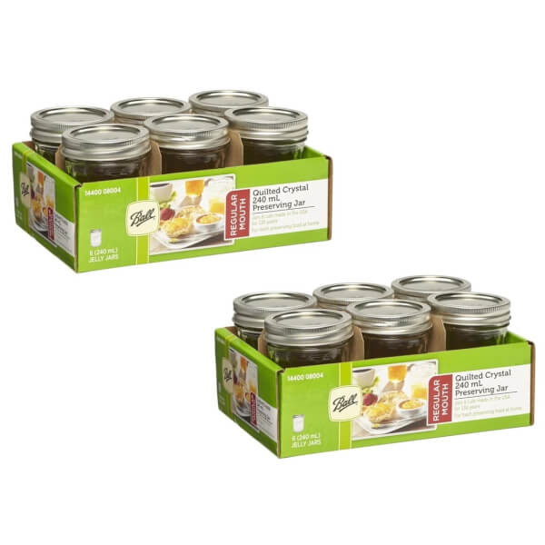 Ball Mason Jars - Pack of 12 - 240ml - Regular Mouth