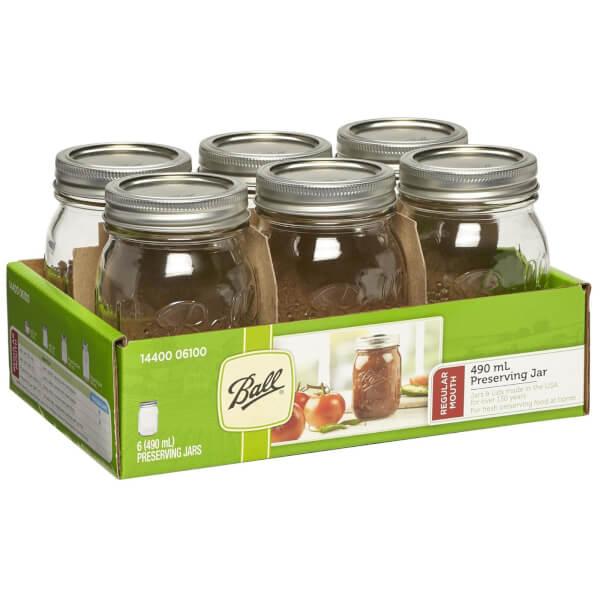 Ball Mason Jars - Pack of 6 - 490ml - Regular Mouth
