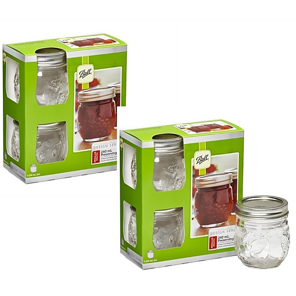 Ball Mason Jars - Pack of 8 - 240ml - Regular Mouth