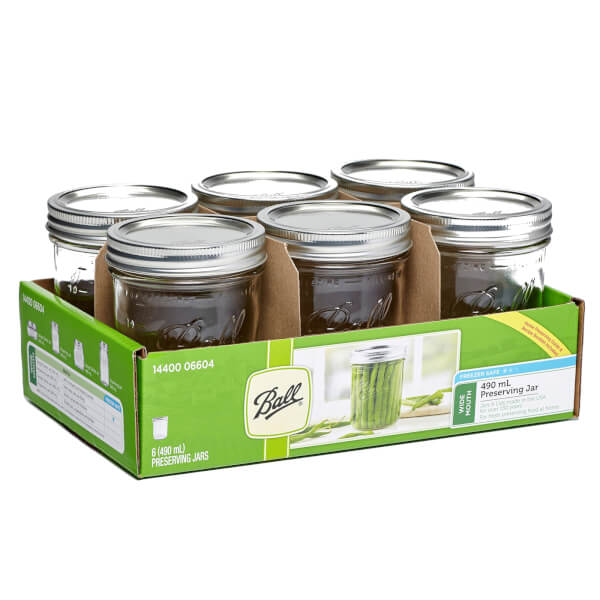 Ball Mason Jars - Pack of 6 - 473ml - Wide Mouth