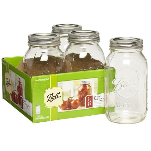 Ball Mason Jars - Pack of 4 - 945ml - Regular Mouth