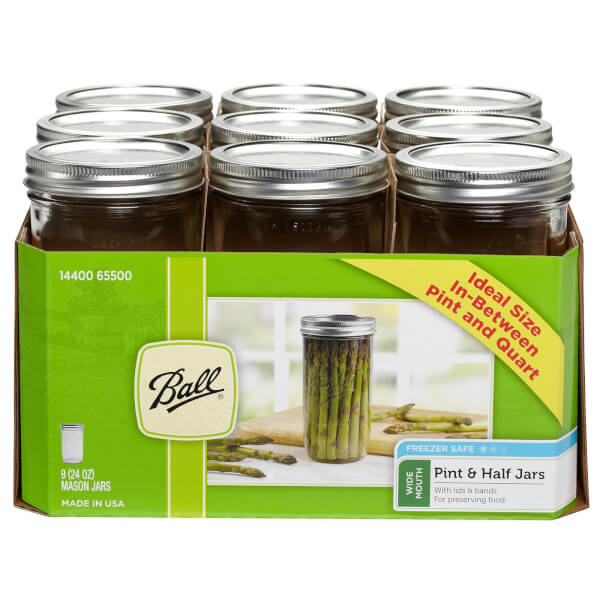 Ball Mason Jars - Pack of 9 - 710ml - Wide Mouth