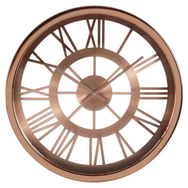 Bailie Skeleton Wall Clock - Rose Gold