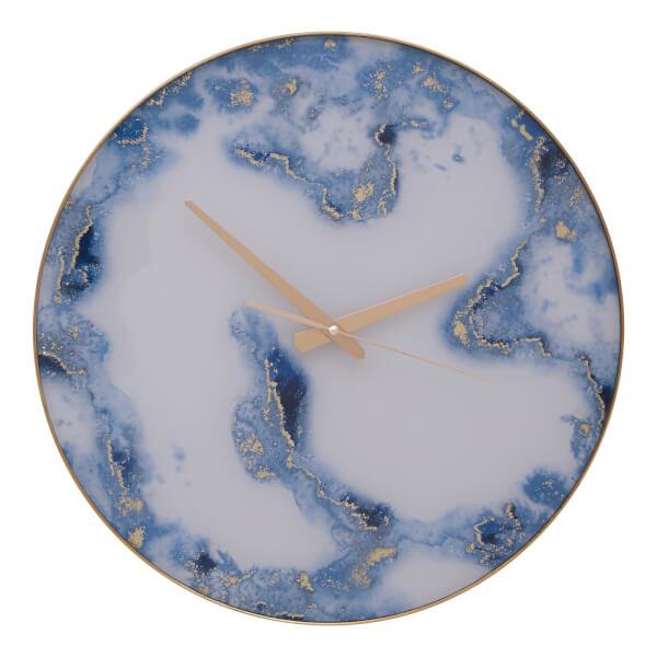 Celina Wall Clock - Blue Abstract