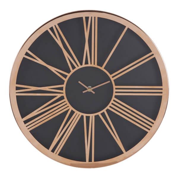 Baillie Wall Clock - Rose Gold & Black