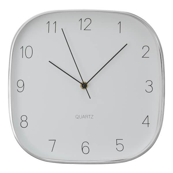 Elko Square Wall Clock - Silver