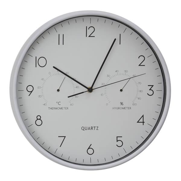 Elko Wall Clock with Temperature & Humidity Dials