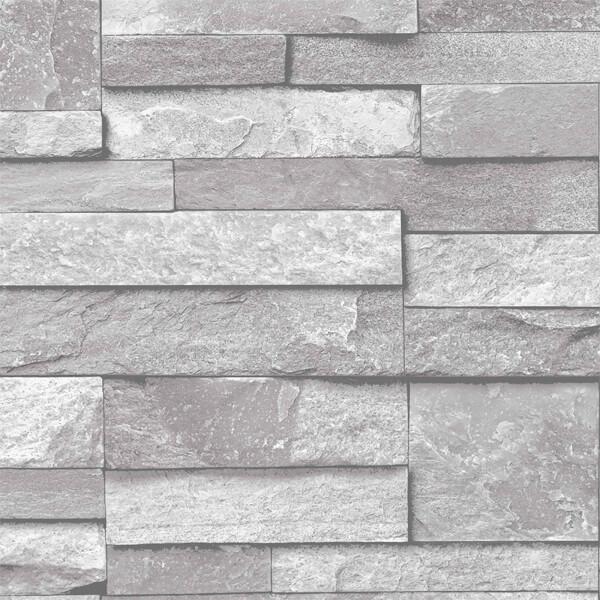 Grandeco Home Inibition Stone Grey Wallpaper