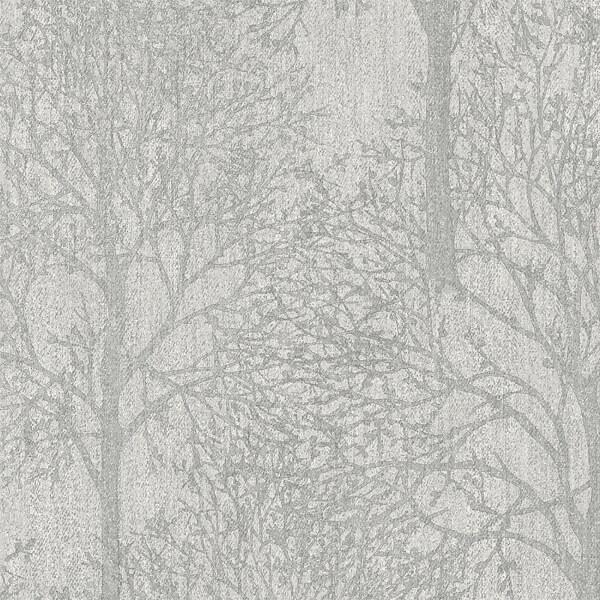 Grandeco Royal House Fabric Tree Grey Wallpaper