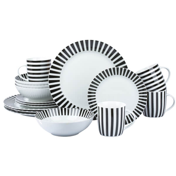 Stripe 16 Piece Dinner Set - Black