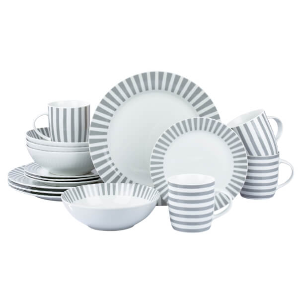 Stripe 16 Piece Dinner Set - Grey