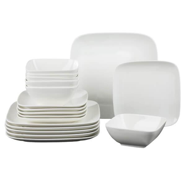 Hampton Square 18 Piece Dinner Set - White