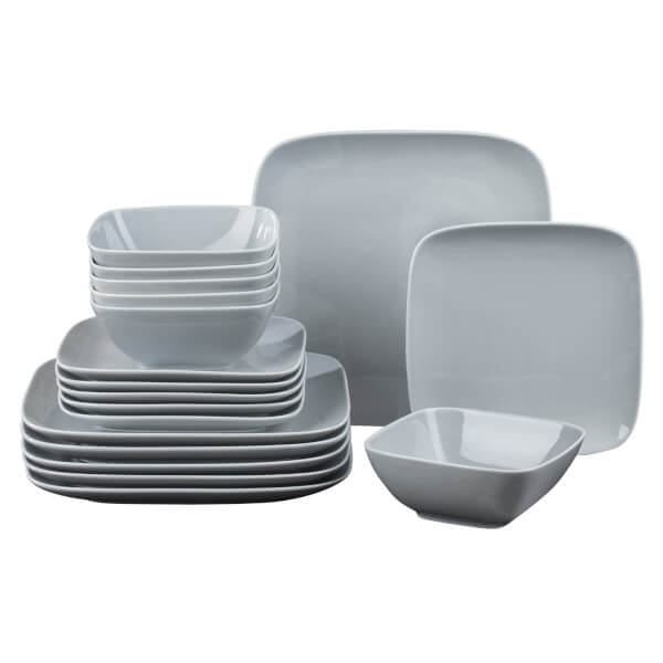 Hampton Square 18 Piece Dinner Set - Grey
