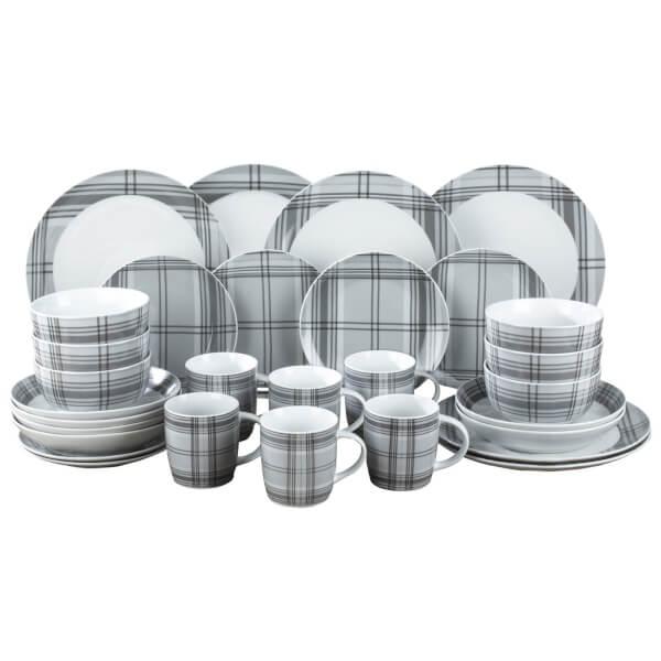 Tartan 30 Piece Dinner Set - Grey