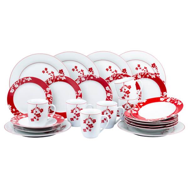 Cherry Blossom 24 Piece Dinner Set - Red & White