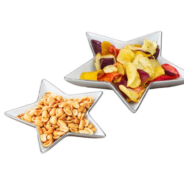 2 Piece Silver Rim Star Serving Plates