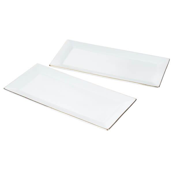 Gold Rim Serving Platters - Set of 2