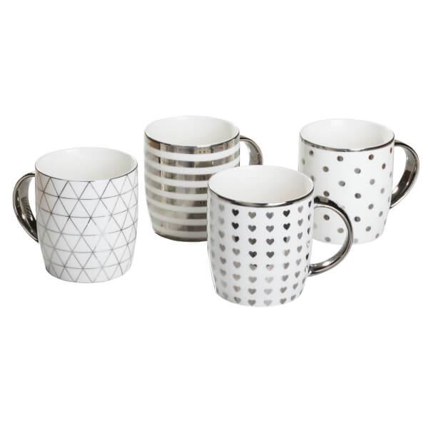 Silver Chrome Mugs - 4 Piece Set