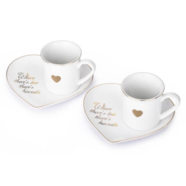 Gold Heart Plates & Mugs - 4 Piece Set