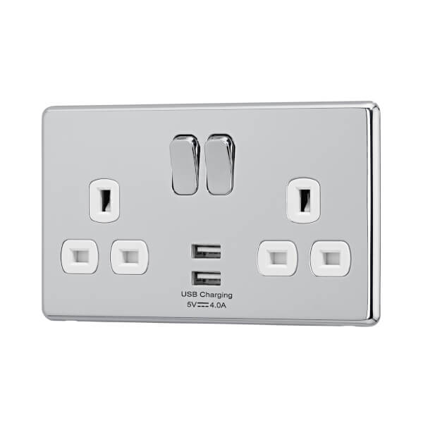Arlec Fusion 13A 2 Gang Polished Chrome Double switched socket with 2x4A USB