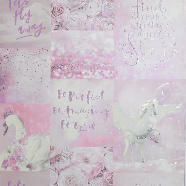 Arthouse Panadora's Dream Unicorn Smooth Glitter Pink Wallpaper