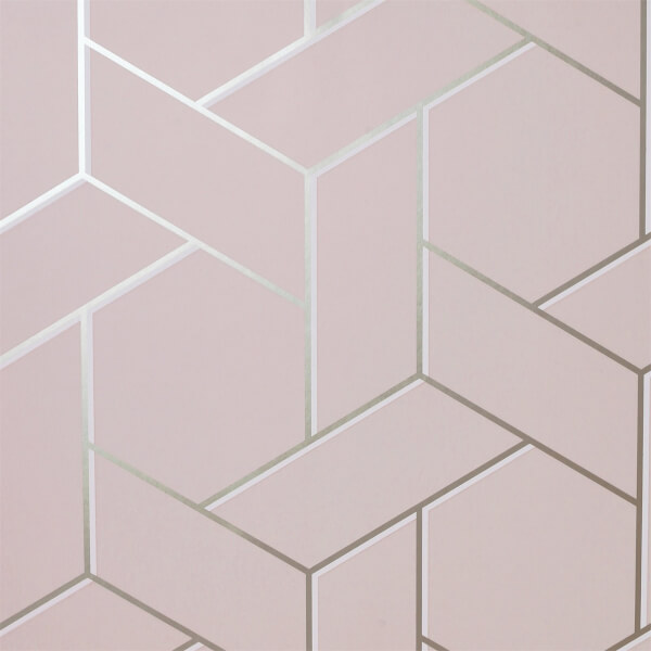Arthouse Parquet Geometric Smooth Metallic Pink and Rose Wallpaper