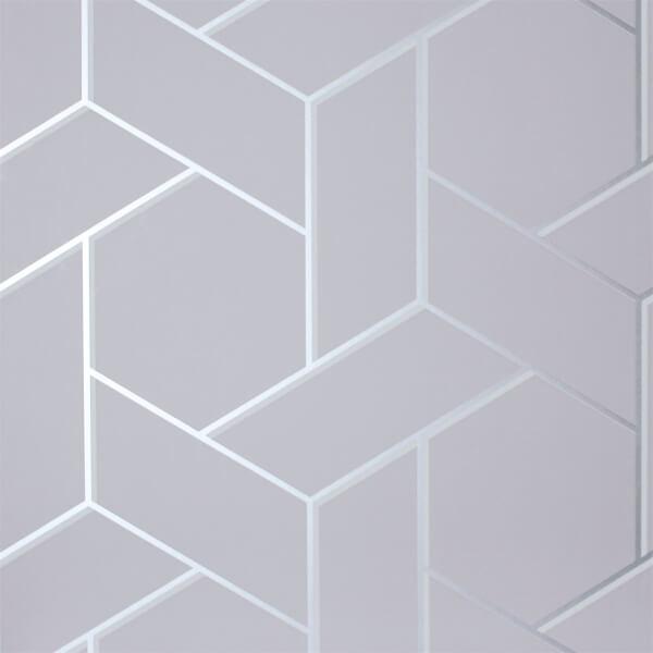 Arthouse Parquet Geometric Smooth Metallic Silver Wallpaper