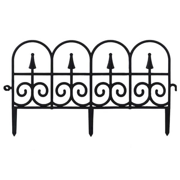 Black Decorative Garden Fence (Pack of 2)