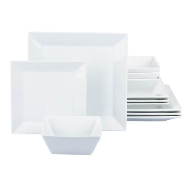 Soho Square 12 Piece Dinner Set - White