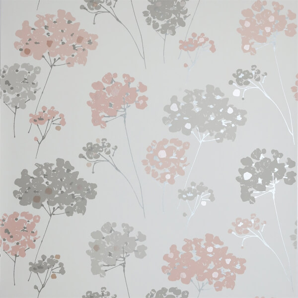 Arthouse Anya Floral Smooth Metallic Blush Pink Wallpaper