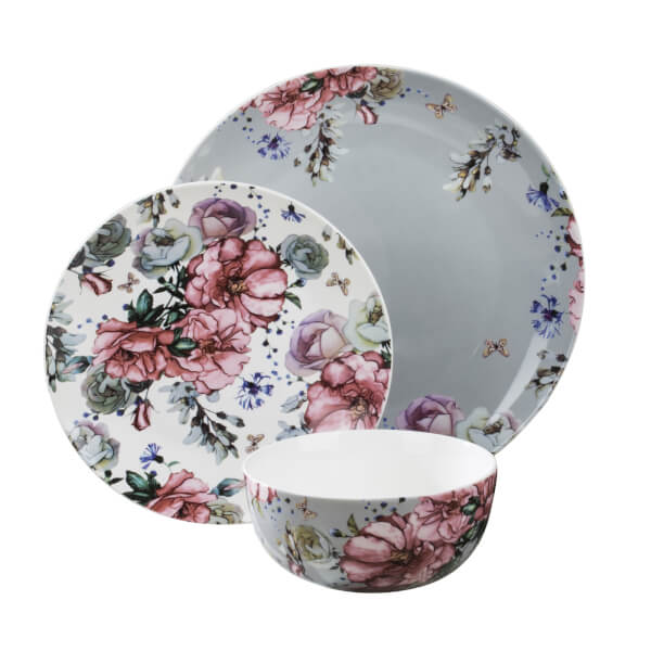 Blossom 18 Piece Dinner Set - Grey, White & Pink