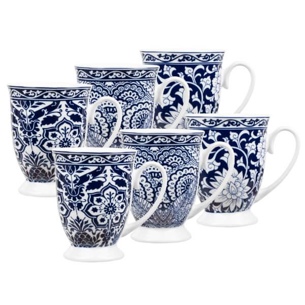 Blue White Footed Mugs - 6 Piece Set