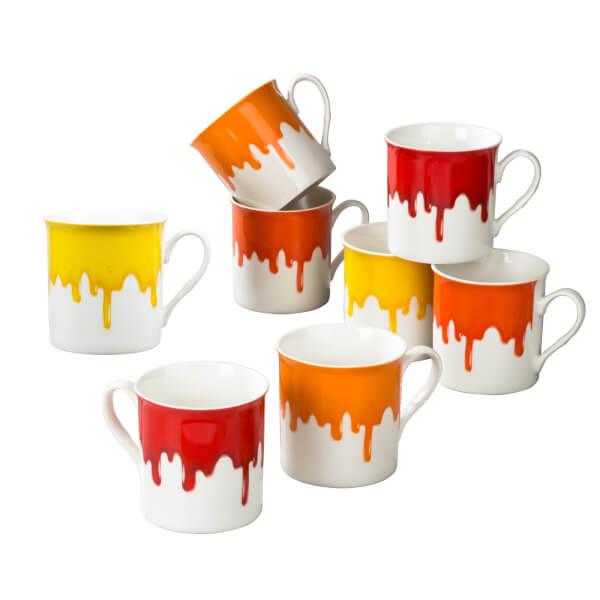 Drip Glaze Mugs - 8 Piece Set