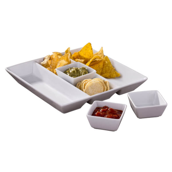 4 Piece White Chip & Dip Serving Set