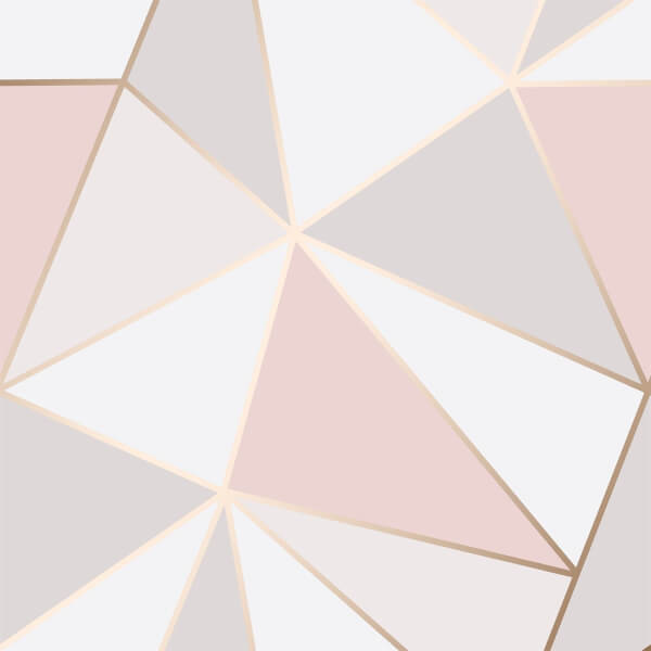 Fresco Apex Geo Rose Gold & Pink Wallpaper