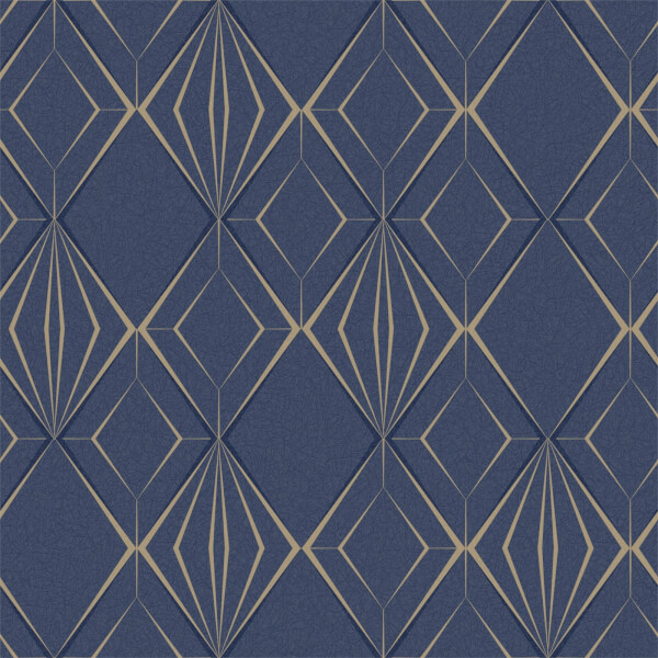 Holden Decor Antares Geometric Textured Metallic Glitter Navy and Gold Wallpaper