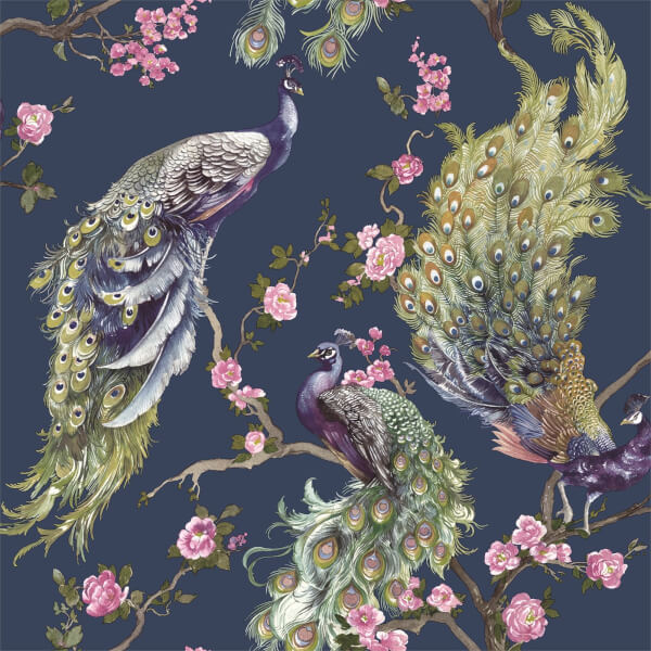 Holden Decor Menali Peacock Floral Textured Glitter Navy Wallpaper