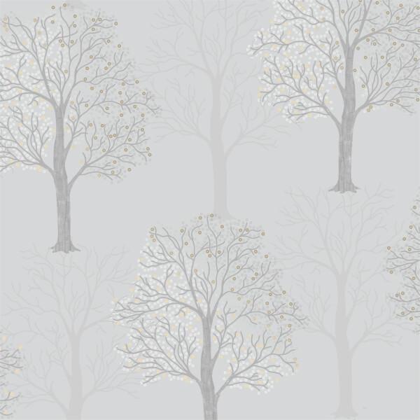 Holden Decor Ornella Tree Embossed Metallic Light Slate Wallpaper