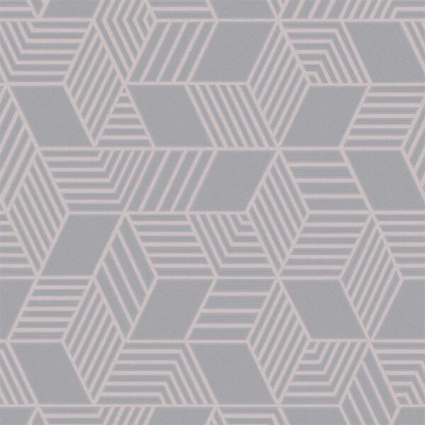 Holden Decor Astonia Geometric Textured Glitter Pink and Slate Grey Wallpaper