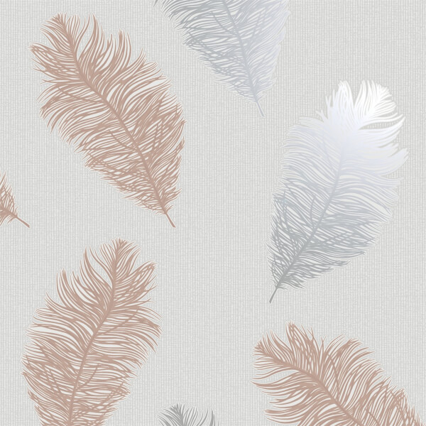 Holden Decor Astonia Feathers Textured Metallic Glitter Grey and Rose Gold Wallpaper