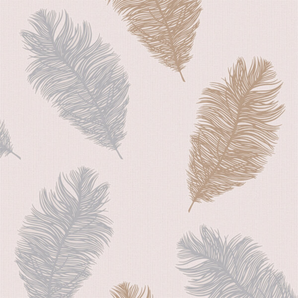 Holden Decor Astonia Feathers Textured Metallic Glitter Blush Pink Wallpaper