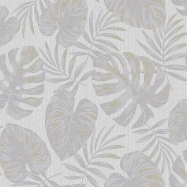 Holden Decor Riviera Leaf Textured Metallic Grey Wallpaper