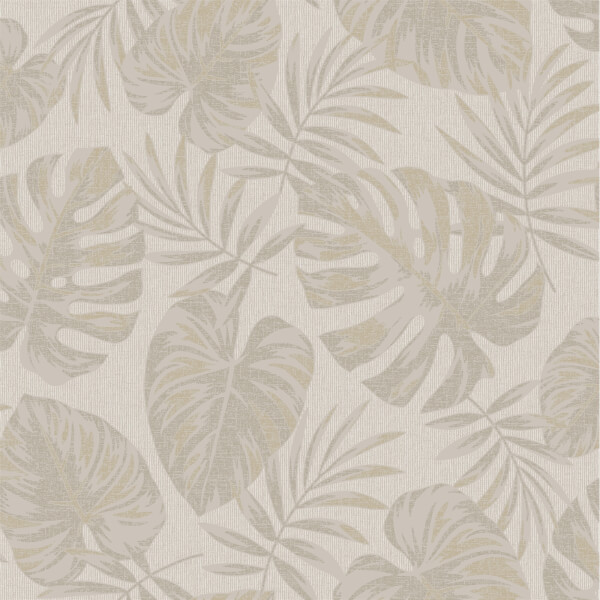 Holden Decor Riviera Leaf Textured Metallic Taupe Wallpaper